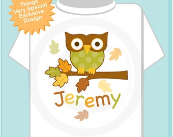 Personalized Kids Fall or Autumn Colors Owl Child's Name Shirt or Onesie for Boys or Girls