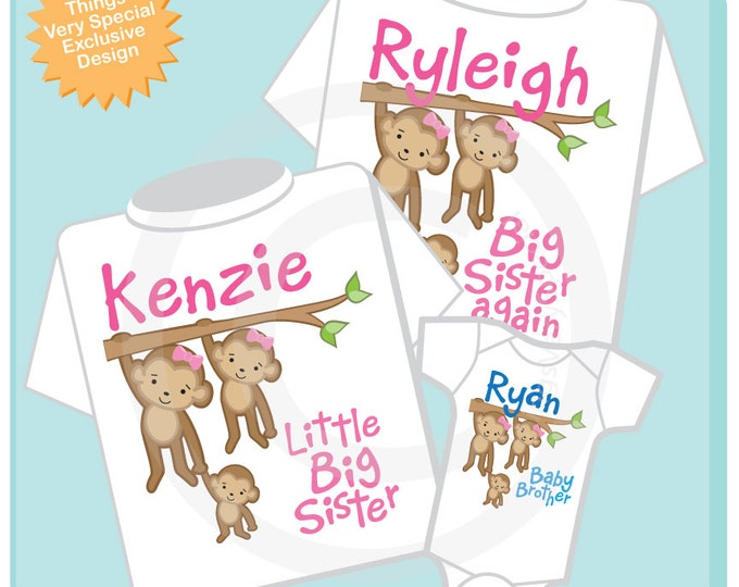 Sibling Monkey Shirt Set, Set of Three, Big Sister Again Shirt, Little Big Sister, Baby Brother, Personalized Shirt or Onesie (10122012a)