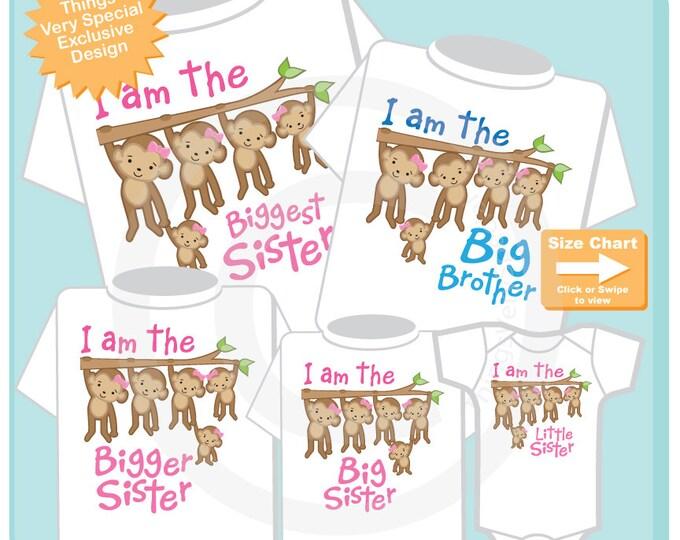 Sibling Monkey Shirt Set of Five, I am the Biggest Sister, Big Brother, Bigger Sister, Big Sister, Little Sister shirt or Onesie (09182015a)