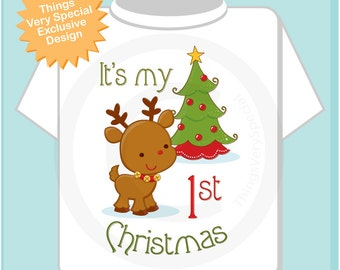 My 1st Christmas Tee Shirt, My First Christmas Onesie, My 1st Christmas T-Shirt or Onesie, 1st Christmas Reindeer Shirt (11212011a)