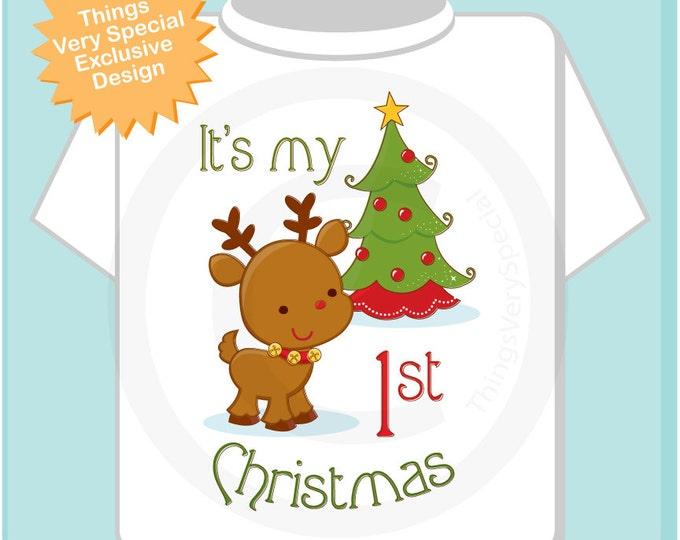 My 1st Christmas Tee Shirt, My First Christmas Onesie, My 1st Christmas T-Shirt or Onesie, 1st Christmas Reindeer Shirt (11212011a)