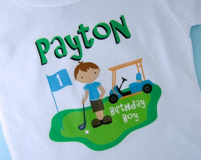 First Birthday Golf Theme Shirt Personalized 1st Birthday Boy Golfer Tee Shirt or Onesie 08272010az