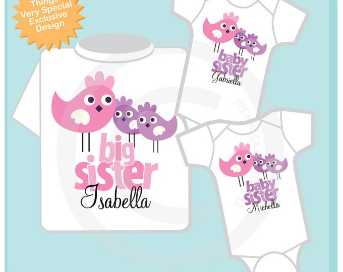 Set of Three, Personalized Big Sister with Twin Baby Sisters Tshirt and Two Onesies with Cute Birdies (06032012c)