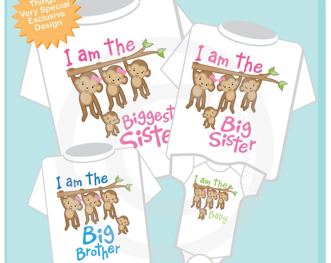 Matching Sibling Set of Four Monkey Shirt and Onesie Set, I am the Biggest Sister Shirt, Big Sister, Big Brother and Baby (02102014g)