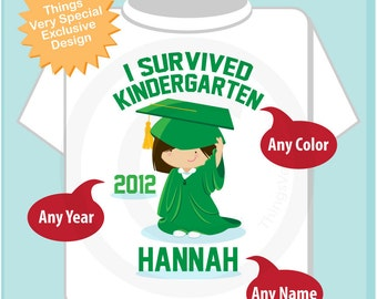 Personalized I Survived Kindergarten Shirt Kindergarten Graduate Shirt Child's Back To School Shirt or Onesie