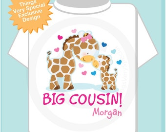 Big Cousin Shirt, Big Cousin Onesie, Personalized Big Cousin Shirt, Giraffe Shirt with Little Boy Baby (07062012a)