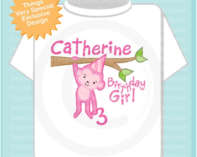 Personalized Birthday Girl Pink Monkey Shirt or Onesie any Age T-shirt 05102019e