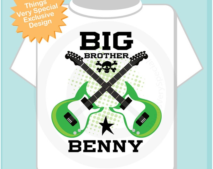 Big Brother Guitar Rocker Shirt or Onesie, Personalized Big Brother Shirt, Infant, Toddler or Youth sizes t-shirt (12302013d)