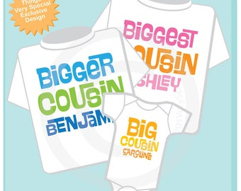 Set of 3 Biggest Cousin, Bigger Cousin and Big Cousin Shirt Personalized Infant, Toddler or Youth Pregnancy Announcement (07312012a)
