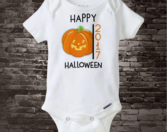 Happy Halloween 2017 Jack-O-Lantern Pumpkin Onesie Bodysuit or Shirt, Cute Pumpkin Happy Halloween 2017 shirt or Onesie 09262017j