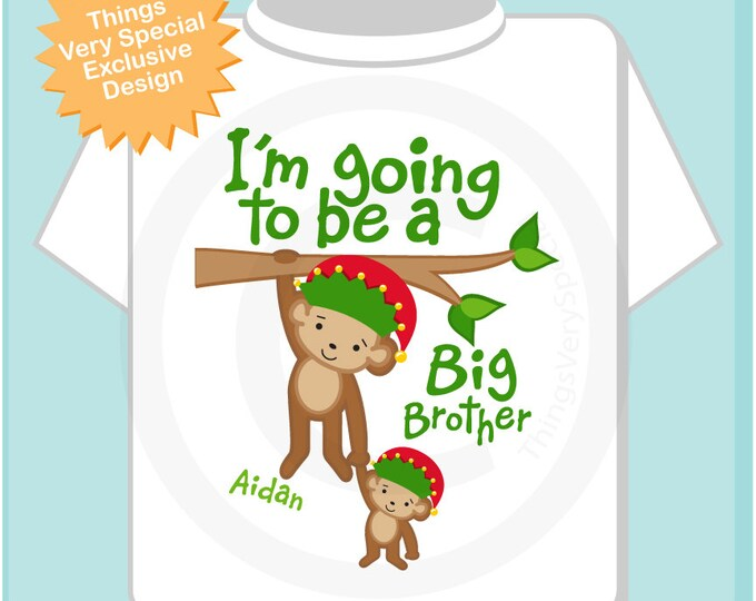 Boy's Personalized I'm Going to Be A Big Brother Monkey Shirt or Onesie with Christmas Theme for Pregnancy Announcement (11262012b)