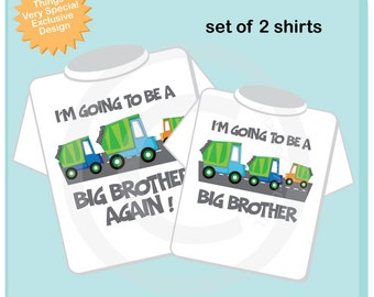 Personalized Set of 2 Big Brother Garbage Truck Tee Shirts or Onesies, I'm going to be a Big Brother with neutral sex baby truck (02072012e)