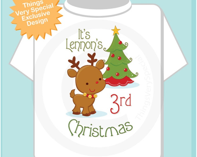 Kids Christmas Outfit - toddler's third Christmas - Christmas Gift - toddler clothing - Personalized Gift - Christmas Outfit 12042018b