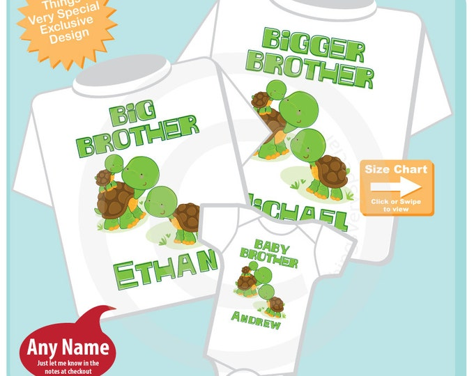 Boys Set of 3 Turtle Bigger Brother, Big Brother Shirt, and Baby Brother Shirts and Onesie Set, Pregnancy Announcement (09302014c)