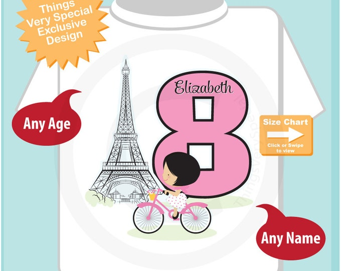 Eighth Paris Birthday Shirt, Pink 8 Birthday Shirt, Personalized Girls Birthday Shirt Pink Age and Name Tee for kids (07242015b)