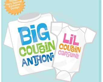 Set of 2 Big Cousin and Little Cousin Shirt Personalized Infant, Toddler or Youth Tee Shirt or Onesie Pregnancy Announcement