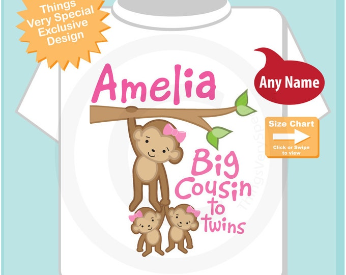 Big Cousin Shirt or Onesie, Big Cousin Monkey with twin baby girls, Personalized Big Cousin with Two Little girl babies Shirt (04062015a)