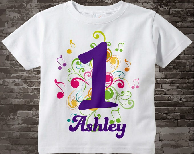 Music Themed First Birthday Shirt, Number 1 Onesie, Personalized Girls Birthday, One Year Old Name Tee Infant Onesie for kids 10072014cz