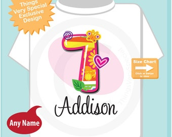Seven Year Old Shirt with Name, Seventh Birthday Shirt, Fancy Number 7th Birthday, Personalized Girls Birthday t-shirt (12302014c)