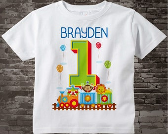 Circus Birthday Shirt with Name, one year old First Birthday Shirt, Personalized Circus Theme Birthday Theme 07102015g