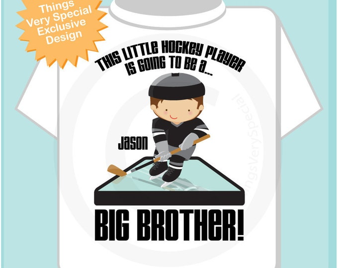 Boy's I'm Going To Be A Big Brother Hockey Player tee shirt or Onesie, pregnancy announcement (04252012b)