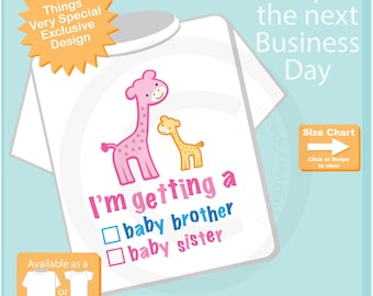 """Gender Reveal Pink and Yellow Giraffes with the words """"I'm Getting A, Baby Brother or Baby Sister"""" check the box. Announcement 08092012a"""