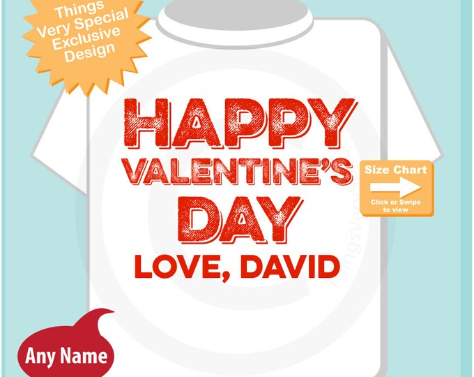 Happy Valentine's Day Personalized Onesie Bodysuit or Tee Shirt, Personalized with your child's name (12302014b)