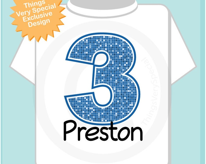 Third Birthday Shirt, Blue Number 3 3rd Birthday tShirt, Personalized Boys Birthday Outfit, Blue Age and Name Tee for kids (04272012a)