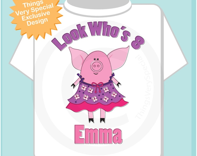 8th Pig Birthday Shirt, Eighth Pink Girls Pig Birthday Shirt Personalized with Child's Name and age tshirt (09212016a)