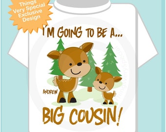 Personalized Big Cousin Woodland Deer Tee Shirt or Onesie, I'm going to be a Big Cousin with neutral sex baby deer (06112013a)