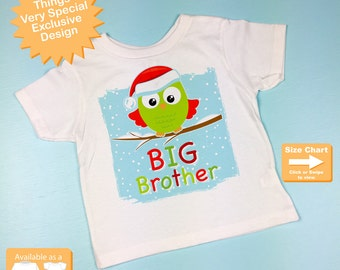 Kids Christmas Outfit - Big Brother Shirt - Christmas Owl Tee Shirt or Onesie Bodysuit - Big Brother Announcement, Owl Big Brother 12042015d