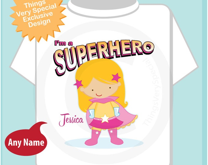Girl's Personalized Blonde Long Hair Superhero Child's Tee Shirt or Onesie (04112014c)