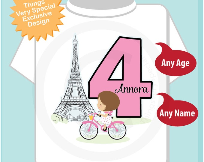 Fourth Paris Birthday Shirt, Pink 4 Birthday Shirt, Personalized Girls Birthday Shirt Pink Age and Name Tee for kids (02282014d)
