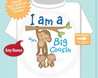 Boy's I Am a Big Cousin of Twin Girls Shirt or Onesie with twin girl babies, Personalized (11122014f)