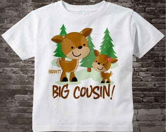 Personalized Big Cousin Woodland Deer Tee Shirt or Onesie, Big Cousin Boy Buck with little cousin any gender. 11272013a