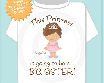 Girl's Brown Hair Princess is going to be a Big Sister Tee Shirt or Onesie, personalized Pregnancy Announcement (04292013a)