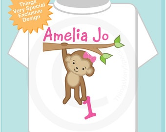 Birthday Girl Monkey with Name and Age in a Shirt or Onesie 07192018a