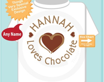 Personalized I Love Chocolate Tee Shirt or Onesie for Girls or Boys (09282014c)
