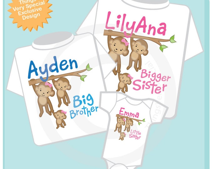Sibling Monkey Shirt Set, Set of Three, Bigger Sister Shirt, Big Brother, Little Sister, Personalized Shirt or Onesie (07262013a)