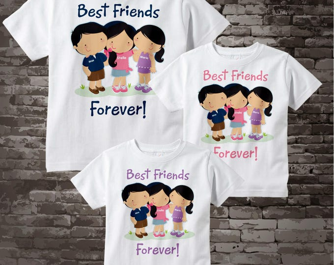 Set of Three, Best Friends Tee Shirts or Onesies. Three Little Boy and two girll Best Friends 06092015a