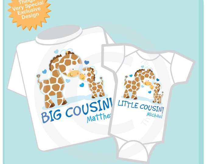 Set of Two Personalized Big Cousin and Little Cousin Giraffes Shirt, Big Boy Cousin and Little Boy Cousin Onesie (04042012a)