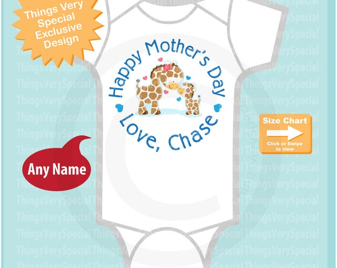 Happy Mother's Day Onesie,  Personalized Mothers Day Onesie or Tee shirt with Cute Giraffes, New Mom Gift 04252019a