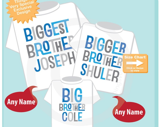 Set of Three Biggest Brother, Bigger Brother Shirt, and Big Brother Shirt or Onesie Set Personalized Pregnancy Announcement (11202013a)