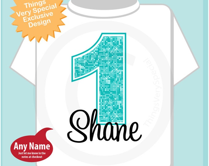 First Birthday Shirt, Turquoise 1st Birthday Shirt, Personalized Girls Birthday Onesie, Light Teal Age and Name for kids (06272014b)