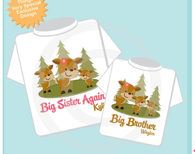 Set of Two, Personalized Big Sister Again and Big Brother Woodland Deer Doe and Buck Tee Shirts or Onesies (03242014f)