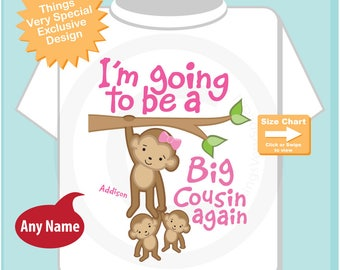 I'm Going to Be A Big Cousin Again Shirt, Big Cousin Again Onesie, Personalized Big Cousin Again Monkey Shirt (04202017c)