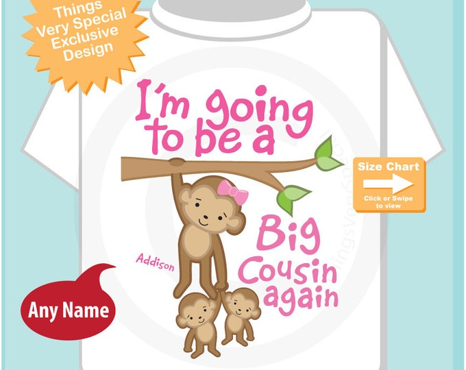 I'm Going to Be A Big Cousin Again Shirt, Big Cousin Again Onesie, Personalized Big Cousin Again Monkey Shirt (04202017c)
