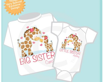 Set of Two Personalized Big Sister and Little Sister Giraffes Shirt and Onesie (02102014b)