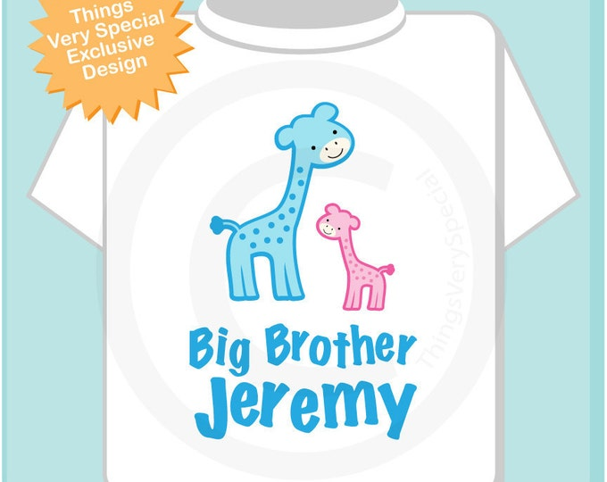 Personalized Big Brother Blue Giraffe Tee Shirt or Onesie with cute blue and Pink giraffes (02232012a)