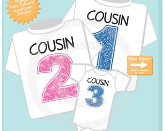 Set of 3, Cousin 1, Cousin 2 and Cousin 3 Tee Shirt or Onesie Pregnancy Announcement (02172015d)
